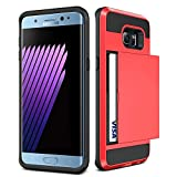 Galaxy S6 Edge + Plus Case,JOBSS [Card Pocket] Shockproof Dual Protective Shell Rubber Bumper with Card Holder Slot Wallet Case Cover Shell For Samsung Galaxy S6 Edge Plus G928 G9287[Red]