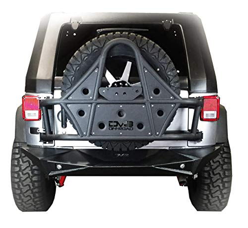 DV8 Jeep Wrangler Tire Carrier Body Mounted Offroad Spare Tire Relocation Kit Perfect for 4x4 Accommodates up to 42 Tire with ANY Lug Pattern Fits 07-17 JK Model Textured Black TCSTTB-01 ()