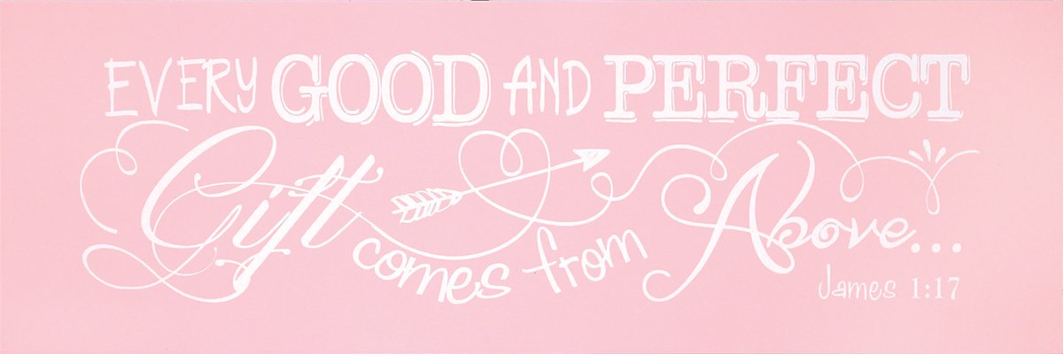 PLQWW-106 Every Good and Perfect Gift James 1:17//Pink Inc Dicksons Baby Girl Wall Plaque