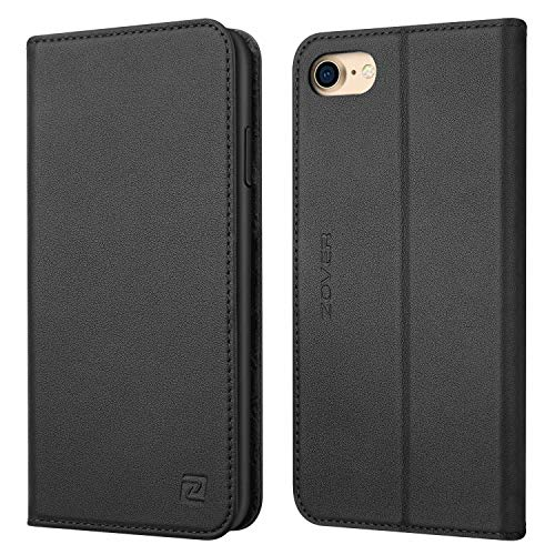 iPhone 8 case iPhone 7 case ZOVER Genuine Leather Case Flip Folio Book Case Wallet Cover with Kickstand Feature Card Slots & ID Holder and Magnetic Closure for iPhone 7 and iPhone 8 Black ()