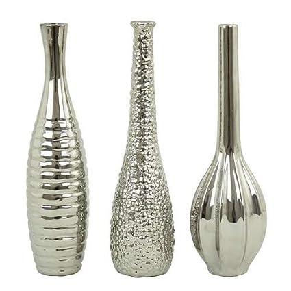 Amazon Aspire Tianna Vases Set Of 3 Silver Home Kitchen