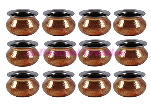 12 PCs Copper Hammered Religious Kalash Hindu Traditional Pooja Prayer Item Lota Pot Panchal Creation by Panchal Creation