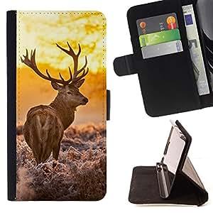BullDog Case - FOR/Samsung Galaxy S3 Mini I8190Samsung Galaxy S3 Mini I8190 / - / deer whiskey antlers deer powerful hunting /- Monedero de cuero de la PU Llevar cubierta de la caja con el ID Credit Card Slots Flip funda de cuer