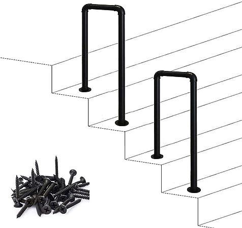 GJIF Int/érieur ou ext/érieur Rampe descalier Villa Garden Canal Main courante barre de support en forme de U Matt s/écurit/é Noir Anti-Slip en fer forg/é dacier galvanis/é Tuyau Balustrade