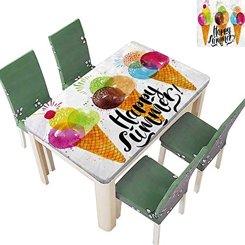 (100% Polyester Tablecloth Cute Print of Ice Cream Cones and Fruit Milk Dessert for Kids Sequal Resistant and Waterproof 52 x 108 Inch (Elastic Edge))