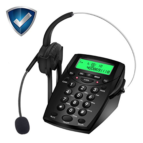 Headset Ready Phones - Wikoo Handsfree Telephone with Headset, Noise Cancelling Call Center Dialpad,Corded dialpad for Business and home, Comes with Noise Cancelling Headset, Very Useful and Convenient(Black)