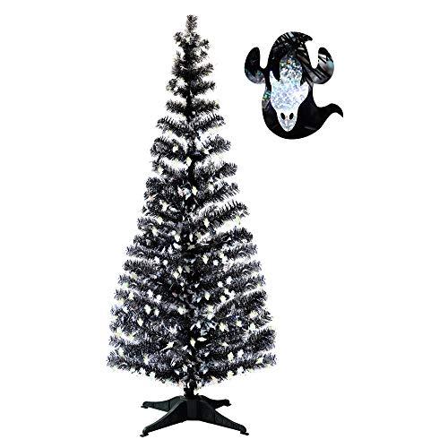 5FT Pop Up Tinsel Branches Trees with Plump Ghost Sequin for Indoor Halloween Decorations,Collapsible Artificial Halloween Xmas Black Tree with Plastic Stand for Haunted House,Yard Office ()