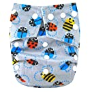 "Kawaii Baby One Size Snazzy Minky Cloth Diaper with 2 Microfiber Inserts ""Bees"""