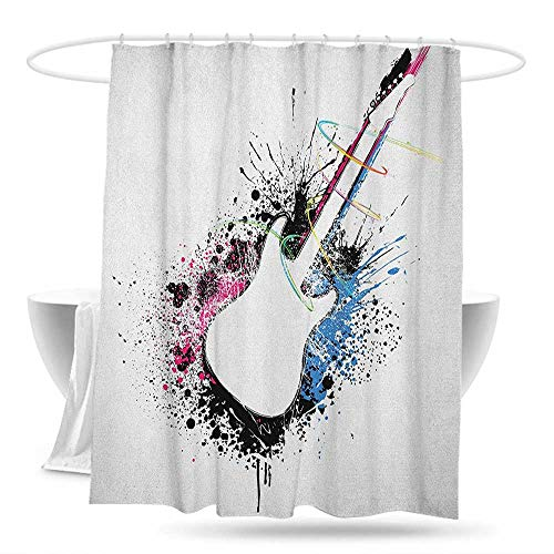 Custom Shower Curtain Guitar Abstract Silhouette of Musical Instrument with Grungy Color Splashes Creating Melody Shower Curtains in Bath 59in×70in Multicolor (Best Melodies In Tamil)
