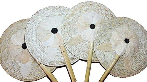 13'' Palm Hand Fans, 4 Natural Palm Leaf Hand Fans, Bundle Decorative Handfan, Wicker Floral Fan Design, Fiesta Party, Floral Handfan, Handmade Palm Fans, Perfect Wedding Favor Fans,]()