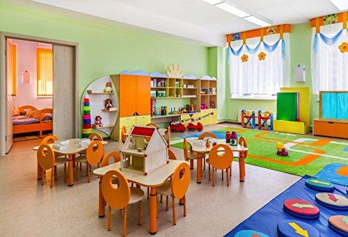 leyiyi 7 x 5ft写真Backgroud幼稚園バックドロップ子供部屋遊びテーブル椅子教室ウィンドウカーテンコーナーおもちゃベッドルームクローゼットカラフルボールキッズフォトPortraitビニールStudio Prop   B07FZGSV29