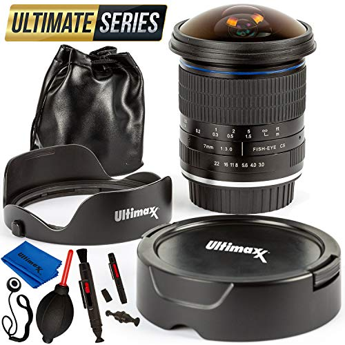 Ultimaxx 7mm f/3 HD Aspherical Fisheye Lens Kit for Sony FS7, FS7M2, FS5, FS5M2K, a9, a99ii; A7, II, R, SII, III, RIII; a6500, a6300, a6000, a5100, a5000, NEX Series & Other E-Mount Digital Cameras