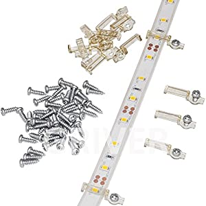 Griver 100 Pack Strip Light Mounting Brackets,Fixing Clips,One-Side Fixing,100 Screws Included (Ideal for 10mm Wide IP68 Silicone Cover Strips)