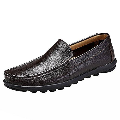 Rismart Hombres Ponerse Cómodo Casual Vestir Auténtico Cuero Mocasines Zapatos Chocolate