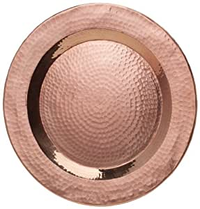 Sertodo Copper, Hand Hammered Pure Copper, 12-inch Round Charger Plate, Centerpiece Display Plate