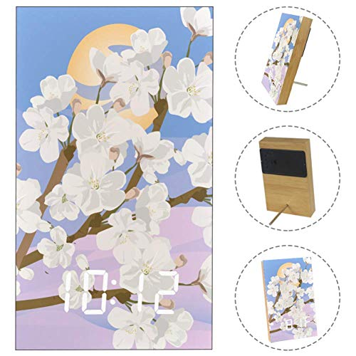 - LORVIES Cherry Blossoms Spring Sunrise Desk Digital Clock LED Display Table Alarm Clock with USB Powered and Battery Operated