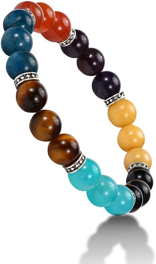WINGLESCOUT Natural Pulsera de 7 Chakras, Lava Rock Lava Rock Bracelet Pulseras con Cuentas de Cristal para Mujer,Yoga/Cumpleaños/Regalo de San Valentín