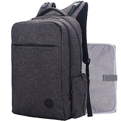 Price comparison product image Lekebaby Large Baby Diaper Backpack Bag for Dad & Mom in Black