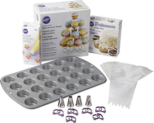 Wilton Bake, Decorate and Display Mini Cupcake Making Set (Stainless Steel Mini Muffin Pan)