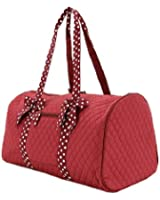 Quilted Duffle Bag with Polka Dots Accent Ribbons Burgwhite