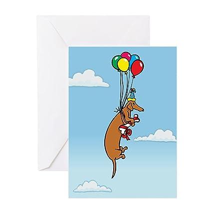 Amazon Com Cafepress Balloon Dachshund Birthday Greeting Card