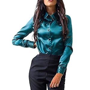 Women Tops, Gillberry Women Button Fashion Casual Tops Long Sleeve Shirt Blouse (Green, US L=Asian XL)