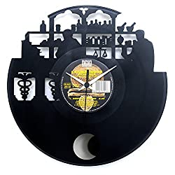 Pharmacist gifts Pharmacy inauguration Wall clock Vinyl clock with pendulum Black color Original Vinyluse Made in Italy