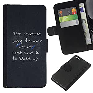 KLONGSHOP // Tirón de la caja Cartera de cuero con ranuras para tarjetas - Haga que los sueños se hacen realidad Mensaje - Apple Iphone 5C //
