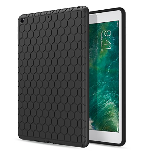 MoKo Fit iPad 9.7 2018/2017 - [Honey Comb Series] Light Weight Shock Proof Soft Silicone Back Cover [Kids Friendly] Compatible with Apple iPad 9.7 Inch (iPad 5, iPad 6), Black