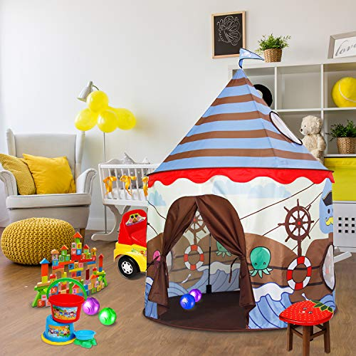 (ALPIKA Castle Kids Play Tent Children Pirate Tent Indoor and Outdoor Viking Patterns Playhouse with Carrying Bag (Brown-Blue))