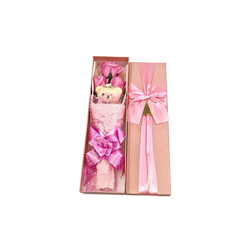 silk flower arrangements abbie home flower bouquet 3 scented soap roses gift box with cute teddy bear birthday mother's day valentine's present-pink