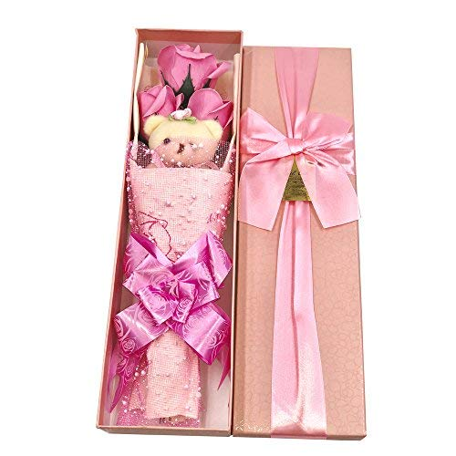 Abbie Home Flower Bouquet 3 Scented Soap Roses Gift Box with Cute Teddy Bear Birthday Mother's Day Valentine's Present-Pink