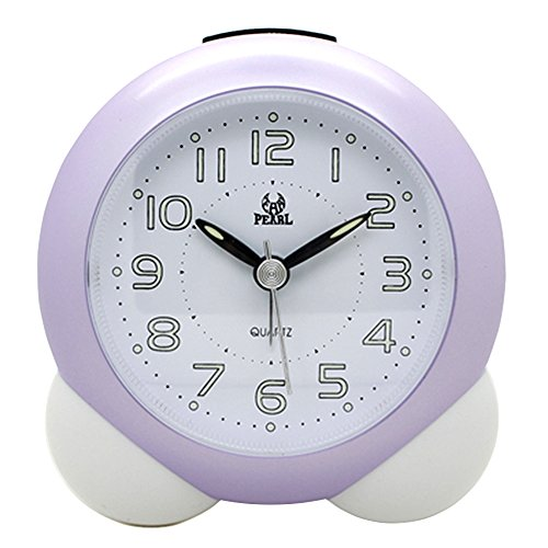 Non Ticking Analog Alarm Clock with Nightlight and Snooze, Kaimao Small Travel Clocks AA Battery Powered, Purple