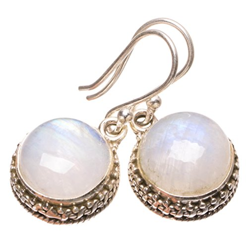 StarGems(tm) Natural Rainbow Moonstone Punk Style 925 Sterling Silver Earrings 1