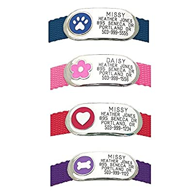 LuckyPet Pet Tags: Jewelry Collar Tag - For Dogs & Cats - Custom Engraved - Durable, Quiet & Chew Proof - Attaches flat to any collar!