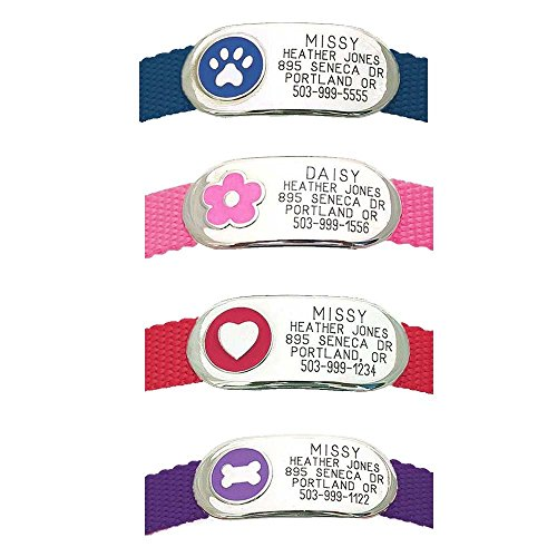 LuckyPet Pet Tags: Jewelry Collar Tag - For Dogs & Cats - Custom Engraved - Durable, Quiet & Chew Proof - Attaches flat to any collar! Small-Purple-Bone from LuckyPet
