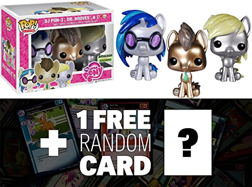 Pony Note Cards - Giltter DJ Pon3, Whooves and Derpy: Funko POP! x My Little Pony Vinyl Figure Gift Set + 1 FREE Official My Little Pony Trading Card Bundle [37659]