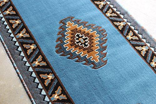 native american runner area rug design kingdom d 143 blue brown 2 feet 4 inch ebay. Black Bedroom Furniture Sets. Home Design Ideas