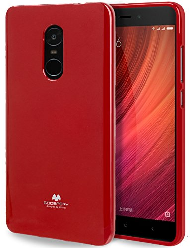 GOOSPERY Marlang Xiaomi Redmi Note 4 / 4X Case - Red, Free Screen Protector [Slim Fit] TPU Case [Flexible] Pearl Jelly [Protection] Bumper Cover for Xiaomi RedmiNote4, XIARMN4-JEL/SP-RED ()