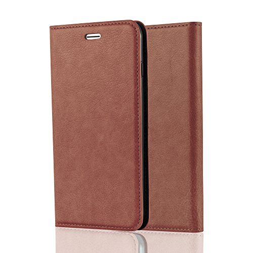 Cadorabo Book Case Works with Apple iPhone 8 Plus / 7 Plus / 7S Plus in Cappuccino Brown - with Magnetic Closure, Stand Function and Card Slot - Wallet Etui Cover Pouch PU Leather Flip