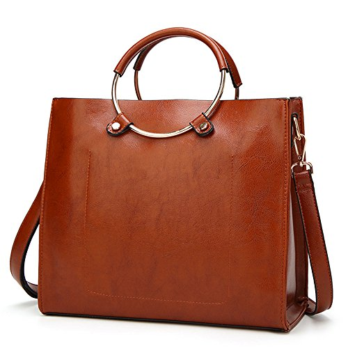 Mn&Sue Large Vintage Metal Ring Handle Portable Work Tote Bag Capable Women Decent Commuting Briefcase (Brown)