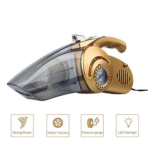 Auto Staubsauger, tragbare Auto Staubsauger Multi-Use Staub Buster Collector Wet / Dry 12V 100W Staubsauger mit eingebautem Manometer, LED-Taschenlampe und Inflator-Funktion