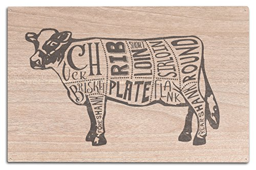 Lantern Press Beef - Butchers Block Meat Cuts - Blue Cow on White (10x15 Wood Wall Sign, Wall Decor Ready to Hang)