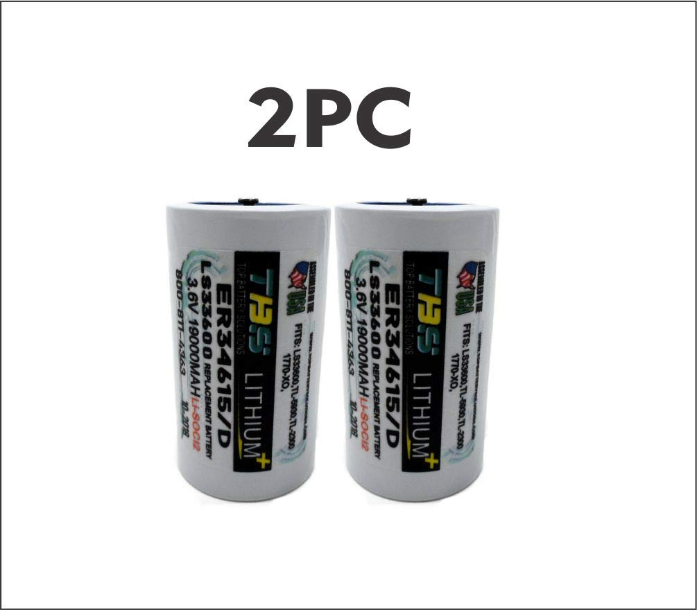 2pc ER34615,SAFT LS33600, D Primary Lithium Replacement Battery 19000 mAh 3.6v by TOP BATTERY SOLUTIONS