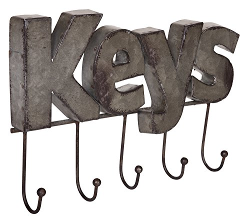 Wall Mounted Five Hook Key Rack, Rustic Galvanized Metal with