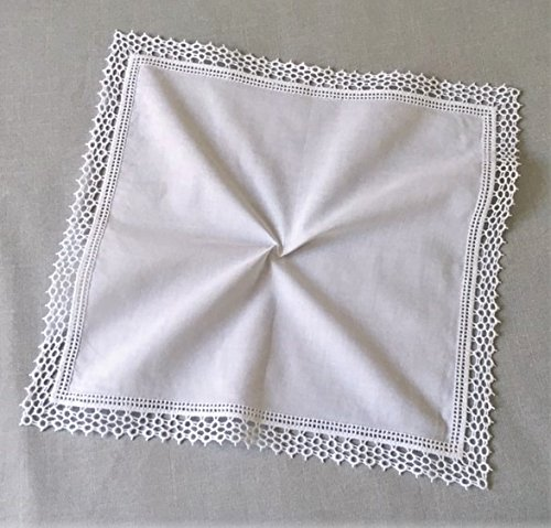 Honeycomb Lace Crochet Wedding Embroidered Handkerchief for Ladies& Bride/White, B609 by MyButterflyhankies