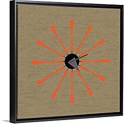Mid Century Spindle Clock Black Floating Frame Canvas Art, 12x12x1.75