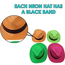 Neon Plastic Gangster Hats - 24 Pack - Dress Up Toy, Party Favor & Accessory For Photo Booths & Themed Parties - Assorted Colors - By Dazzling Toys