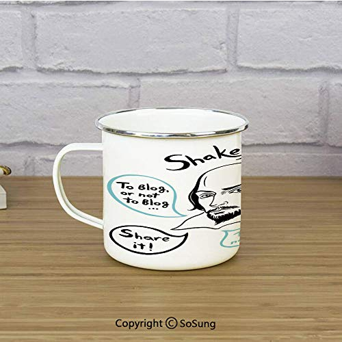 Funny Enamel Coffee Mug,Shakespeare Portrait with Speech Bubbles and Social Media Citation Illustration,11 oz Practical Cup for Kitchen, Campfire, Home, TravelBlue Black White