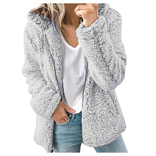 Celucke Fashion Women's Casual Hooded Plush Warm Jackets, Solid Color Zip Up Cardigan Coat Tops Blouse with Pockets